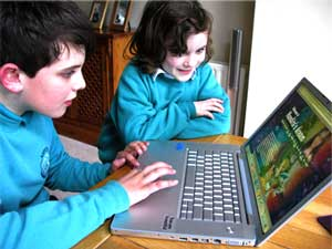 Picture of children with computer